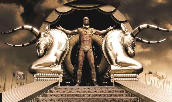 Xerxes (Rodrigo Santoro) fully naked only wearing a speedo thong,