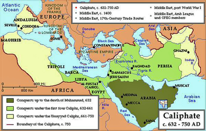 map of muslim domination during 750