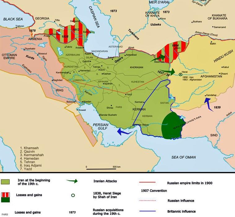 Persian Empire: Iran Politics Club: Iran Historical Maps 10: Qajar Persian