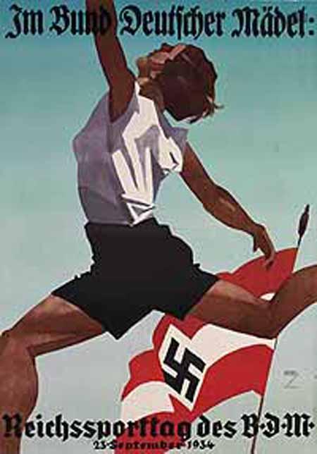 nazi propaganda poster aryan woman pre olympics 1934 bdm propaganda    Nazi Women Propaganda