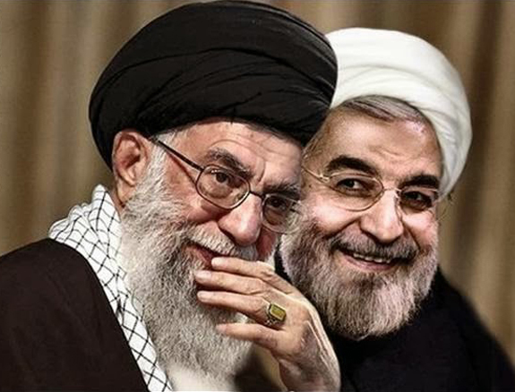 Image result for Khamenei  and rouhani laughing