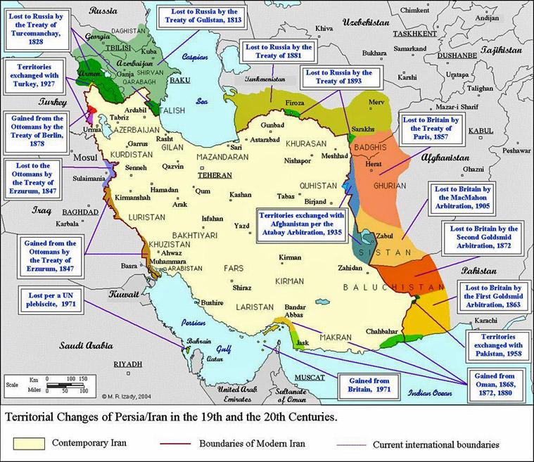 Iran Politics Club: Iran Historical Maps 10: Qajar Persian Empire ...